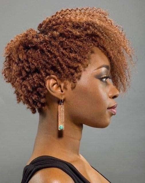 Short Afro in golden copper